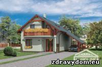 AKTUÁL 422 je dom menšej veľkostnej kategórie určený do dvojpodlažnej okolitej zástavby | poschodový rodinný dom s obytným podkrovím bez podpivničenia, vhodný na rovinatý prípadne mierne svahovitý terén | napriek svojim pomerne malým rozmerom plne spĺňa požiadavky pre bývanie 4-člennej rodiny | charakteristikou domu je otvorená priestranná denná časť v prízemí | napriek plným bočným stenám bez okien riešenie dispozície ponúka nezvyčajne svetlý stredný trakt domu, veľkoryso presvetlený cez strešné okná a galériu v podkroví | v podkroví sú situované 2 detské izby, spálňa rodičov a veľká kúpeľňa s WC | zo všetkých podkrovných izieb je priamy prístup na balkón | prestrešené voľné státie pre osobné vozidlo je možné riešiť aj ako pristavanú garáž | vzhľadom na svoju malú šírku je vhodný aj na veľmi úzke stavebné parcely |