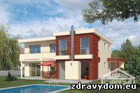 VILA 752 | moderný dom strednej veľkostnej kategórie bez suterénu poskytuje komfortné bývanie 6 člennej domácnosti | vhodný do dvojpodlažnej zástavby na prevažne rovinatý, prípadne mierne svahovitý terén | dispozícia rozdeľuje dennú a nočnú časť domu | prízemie je tvorené veľkopriestorom obývacej izby s krbom, jedálňou a kuchyňou | prednosťou je izba na prízemí ktorá môže slúžiť pre imobilnú osobu | kompaktná dispozícia a malé komunikačné priestory | izby na poschodí s plnou výškou stropu | po malej stavebnej úprave je možné prístrešok auta realizovať variabilne v rámci čelnej a bočnej fasády a využívať tak ako vstup dvere pri schodisku, tým je možné osadiť dom variabilne k ceste | sklad potravín možno realizovať i ako samostatné wc | kombinácia stavebných konštrukcií s nadštandardnými tepelno-technickými vlastnosťami je predpokladom minimalizovania spotreby energie na vykurovanie