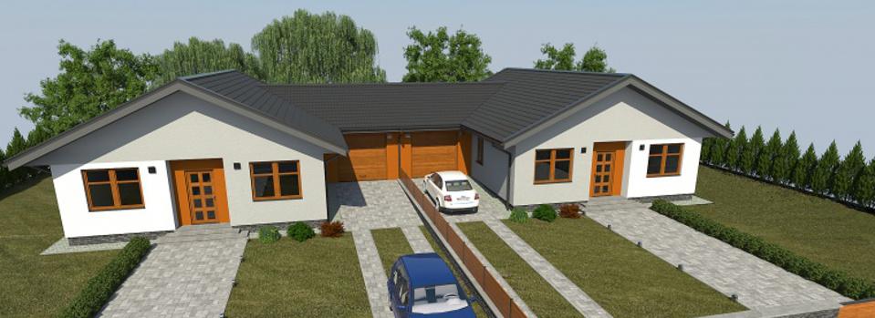 Dom Duo, alebo presnejšie Dvojdom Duo sme zaradili do našej ponuky z dôvodu vysokého záujmu našich zákazníkov, medzi ktorými sa teší veľkej obľube. Spája výhody dvojdomu a samostatného domu, a to najmä vďaka prepojeniu domov mimo obytnej časti, presnejšie garážovou stenou.
