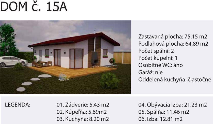 Rodinný dom č.15. 75 m2 Zastavaná plocha: 75.15 m2 Podlahová plocha: 64.89 m2 Počet spální: 2 Počet kúpelní: 1 Osobitné WC: áno Garáž: nie Oddelená kuchyňa: čiastočne Terasa: nie je súčasťou dodávky